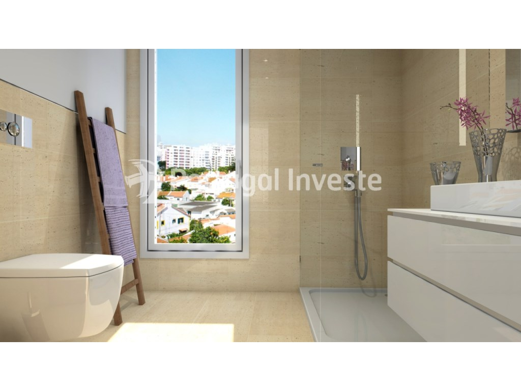 Bathroom, For sale 3 bedrooms apartment, new, box, Liberty Atrium Residence, 10 minutes from Lisbon downtown - Portugal Investe