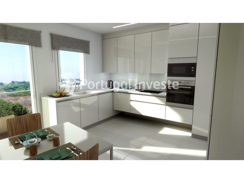 Kitchen, For sale 3 bedrooms apartment, new, box, Liberty Atrium Residence, 10 minutes from Lisbon downtown - Portugal Investe