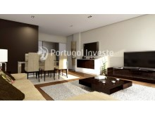 Living room with illuminated fake ceiling - For sale 2 bedrooms apartment, new, box, Liberty Atrium Residence, 10 minutes from Lisbon downtown - Portugal Investe%13/18