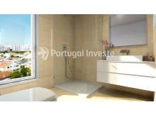 Bathroom with shower - For sale 3 bedrooms apartment, new, box, Liberty Atrium Residence, 10 minutes from Lisbon downtown - Portugal Investe%3/17