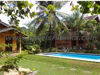 HIKKADUWA INLAND HOUSE  WITH  4 BEDROOM & POOL & ONE BEDROOM CABANA / 50 PERCHES ( SQ.M 1250) | 4 Bedrooms + 1 Interior Bedroom | 4WC