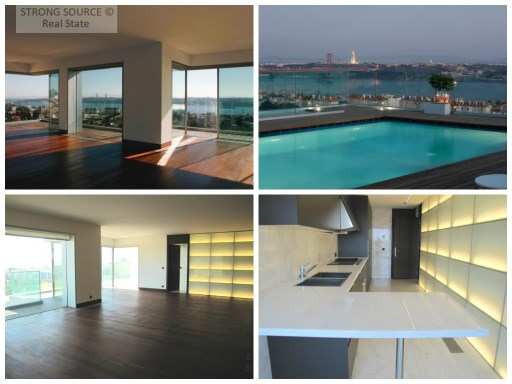 For sale-fantastic apartment, with 2 suites and 2 rooms, 280 m2, on the top of Belém, Lisbon, 2 panoramic swimming pools, building with stunning views of the river and the city, gym, sauna, panoramic bar next to the pool, 24 hour security and parking places 3.