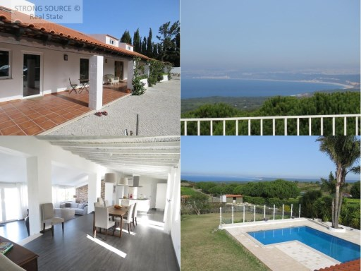 For sale Fantastic Villa with panoramic views to the sea, in Azóia / Sesimbra, with 4 suites, 2 bedrooms, 3 rooms, two with fireplace, gym, garden with pool and orchard with fruit trees, hole with own water, surface of the house of 400 m2 and land with 7500 m2, close to beautiful beaches and only 40 km south of Lisbon (30 minutes).