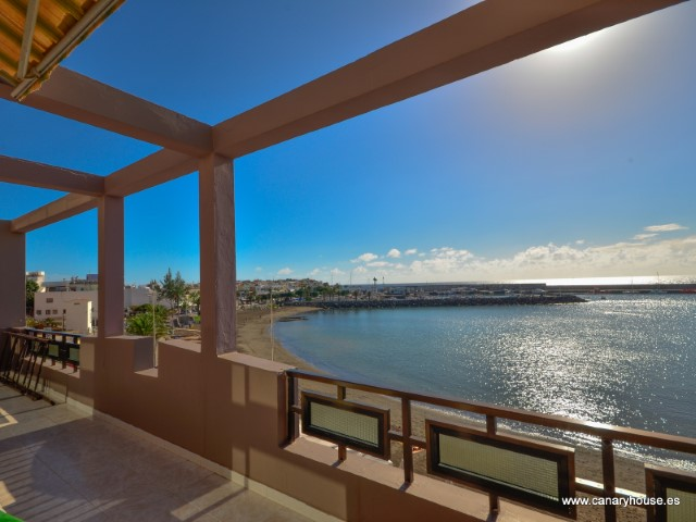 For sale three-storey building, situated in first line of the beach in Arguineguin, Gran Canaria.