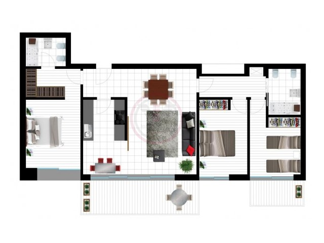 Project for a contemporary style apartment with 3 bedrooms  | 3 Bedrooms | 2WC