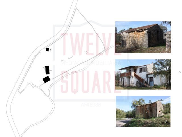 Property land with rustic houses with approved project for Hotel |