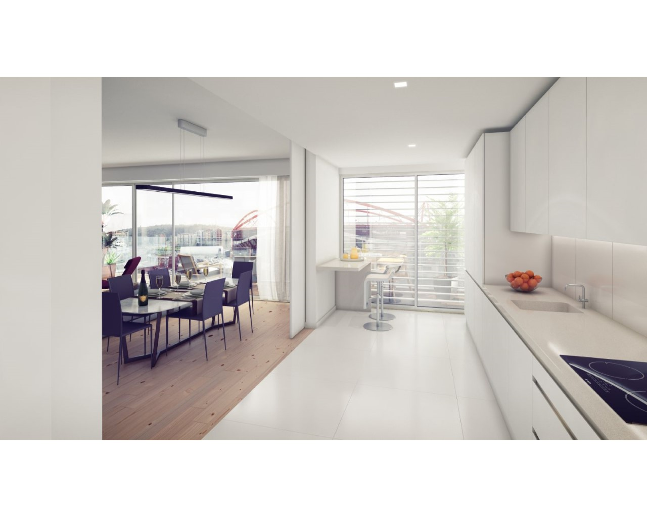 Kitchen sliding doors - open