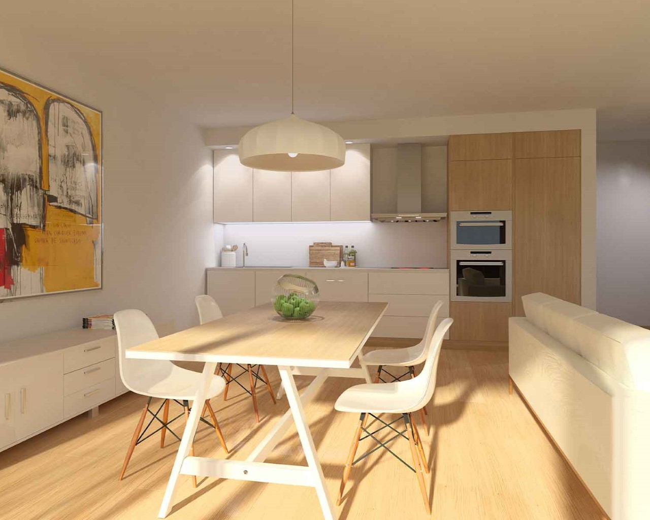 Kitchen and living Praia do Sal