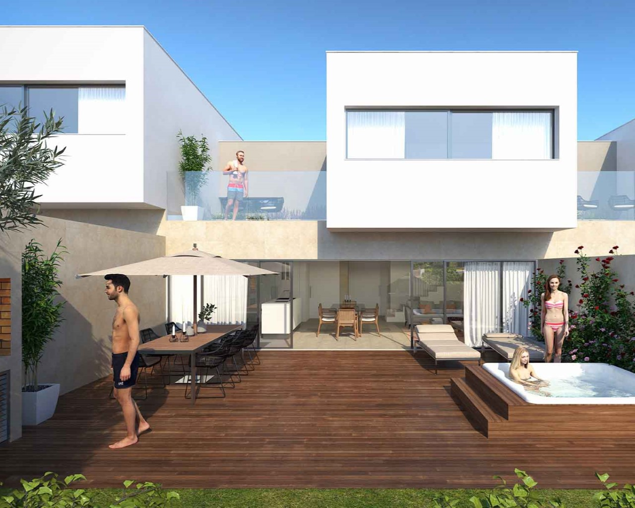 Ferragudo Design Villas - Deck and Jacuzzi