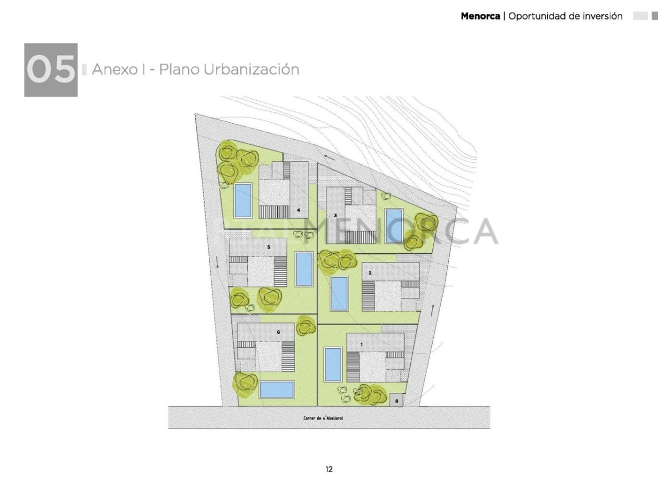 Plot for sale in Cala Blanca, Ciutadella promotion of 6 homes -architectural plans
