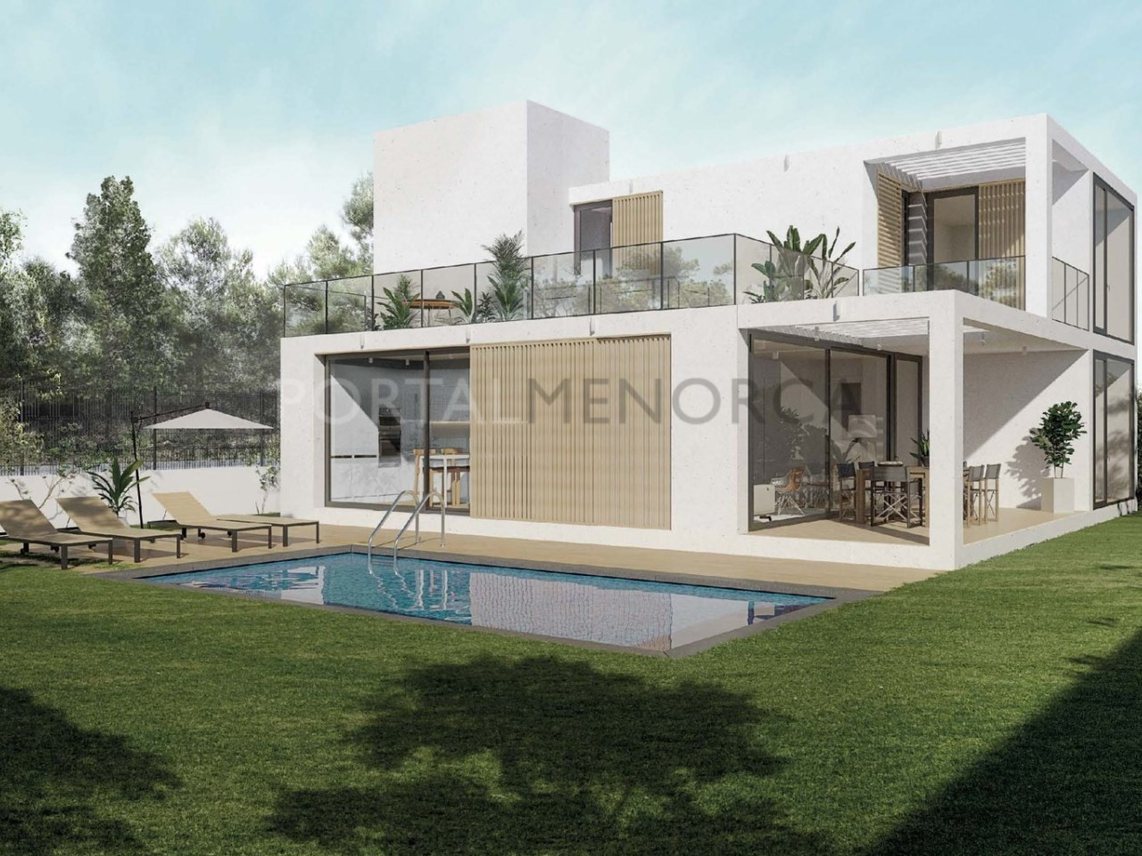 Plot for sale in Cala Blanca, Ciutadella promotion of 6 homes -3D