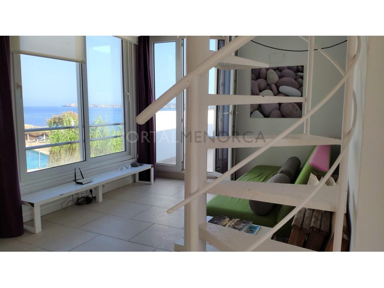 Modern apartment with sea views for sale in Cala Blanca Ciutadella Menorca- Living room