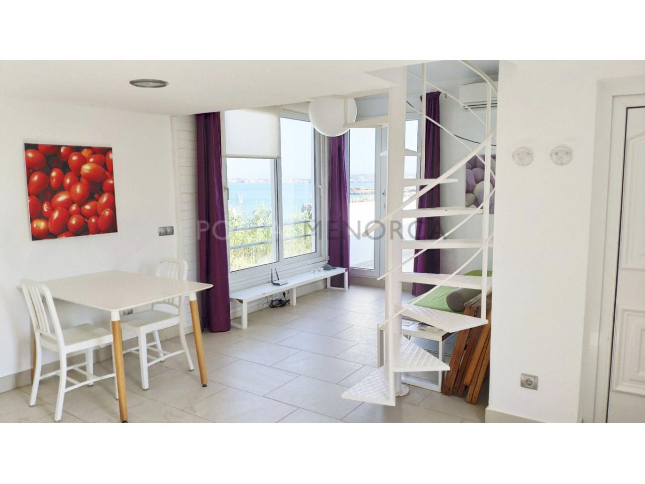 Modern apartment with sea views for sale in Cala Blanca Ciutadella Menorca-Living room