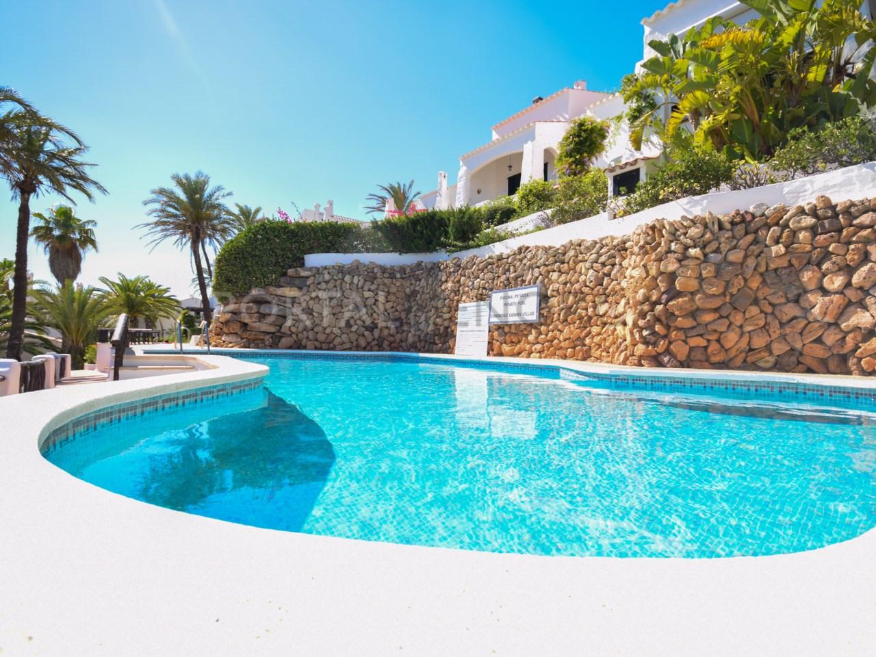 communal pool villa in playas de fornells